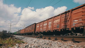 Train Rides on Rails. The train moving at a high speed on rails.  Full HD 1920 x 1080, 29,97fps stock footage