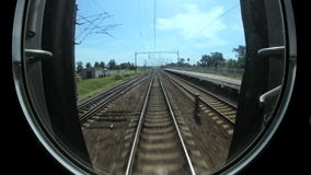 Train rides on rails, railway communications stock footage