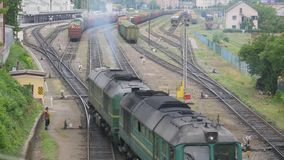 Train rides on the rails, top view.  stock footage