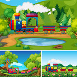 Train riding in the countryside scenes. Illustration Stock Photos