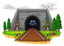 Train riding on railroad. Illustration Royalty Free Stock Image