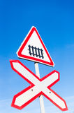 Train road sign. Railroad sign over blue sky Royalty Free Stock Photography