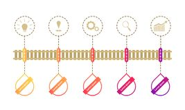 Train roadmap timeline elements with markpoint graph think search gear target icons. vector illustration eps10. Train roadmap timeline elements vector royalty free illustration