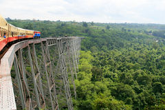 Train rolling over the Gokteik viaduct in Burma (Myanmar) stock photography