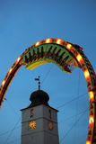 Train rotating inside Super Loops wheel. Sibiu, Romania - September 28, 2012: Rollercoaster at CibinFest, the romanian beer festival, Oktoberfest version in Royalty Free Stock Image