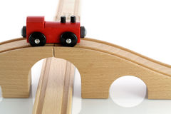 train rouge de jouet en bois Photographie stock