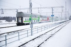 Train at rovaniemi station in winter royalty free stock photo