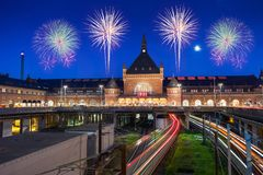 Train run into Copenhagen central station in Denmark with clear royalty free stock image