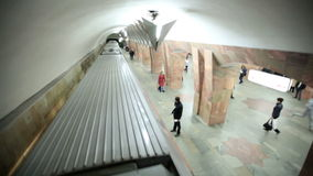 Train runaways at the Marksistskaya metro station. stock video