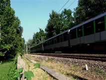 Train. Running along a countryside railroad stock video