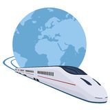 Train running around the world Stock Photography