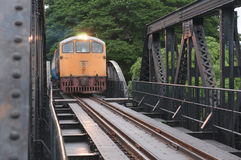 Train running on the bridge Royalty Free Stock Photos