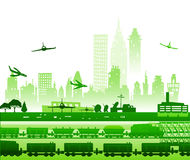 Train running through the city, and airplanes going to be landed in airport.  industrial illustration Royalty Free Stock Photos