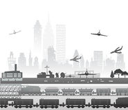 Train running through the city, industrial illustration Royalty Free Stock Photos