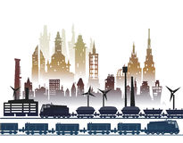 Train running through the city, industrial illustration Stock Photography