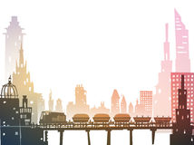 Train running through the city, industrial illustration Stock Photos