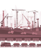 Train running through the city, industrial illustration Royalty Free Stock Photo