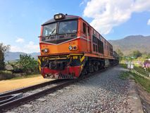 Train running on metal railway with the moutian landscape countryside Stock Image