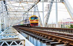 Train is running on the Railway Bridge. Royalty Free Stock Photo
