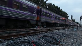 Train running on the railway in the morning. In Thailand stock video footage