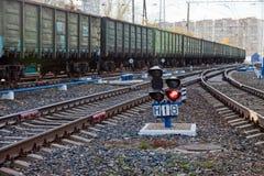 Train running on railway tracks Royalty Free Stock Photo