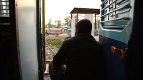 Train running through rural area.  stock video