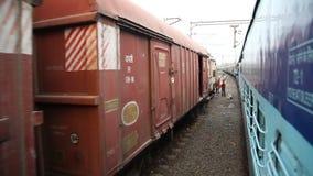 Train running through rural area.  stock video footage