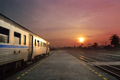 Train running in sunset Royalty Free Stock Photography