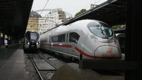 Train running in terminal for send and receive passengers at Gare de Paris-Est or Paris Gare de l`est railway station. PARIS, FRANCE - SEPTEMBER 7: Train running stock video