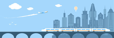 Train Running Through The City. Railway And Bridge Stock Image