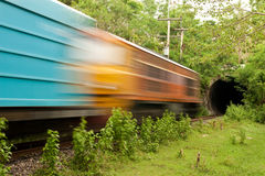 Train running in to tunnel Royalty Free Stock Photography