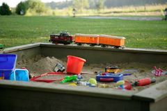 Train in the sandbox Royalty Free Stock Photo