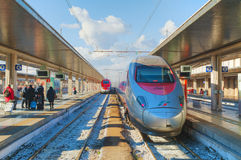 Train at Santa Lucia station in Venice Stock Image
