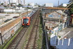Train. Sao Paulo, SP, Brazil, 03/10/2017. Train circulates in line 8 Diamond, between sheds of old factories of the district of Lapa, west zone of Sao Paulo, SP Stock Images