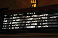 Train Schedule. Screen displaying schedule of train departures in Cental Station in New York City Royalty Free Stock Images