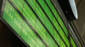 Train schedule table at Stockholm train station Sweden. Train schedule green table at Stockholm city train station Sweden stock video