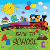 Train with school supplies Royalty Free Stock Image
