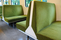 Train Seats. Seating inside of a train car Royalty Free Stock Photography