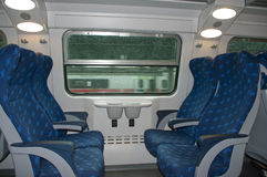 Train seats. Blank seat chairs in the train Stock Image