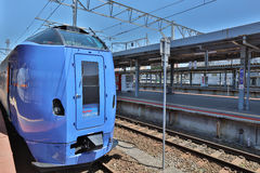 Train services between Sapporo and Hakodate, at Hakodate Stock Photos