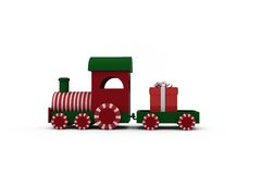 Train set with gift box Royalty Free Stock Image