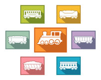 Train set for passenger or cargo industry. Railroad train set icons for passenger or cargo industry Royalty Free Stock Photography