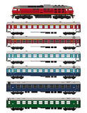Train set passenger waggons and locomotive Royalty Free Stock Photography