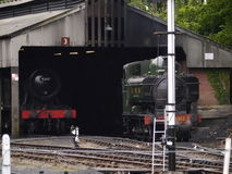Train Shed. Steam Train coming out of its shed at the Bodmin and Wenford Railway stock photos