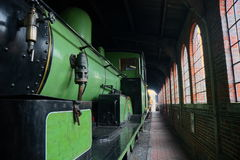 Train Shed. Steam train in the engine shed at the Bluebell Railway, Horsted Keynes, Sussex, UK stock images