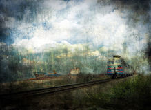 Train and ship. Train and old ship, grunge background Royalty Free Stock Image