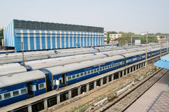Train Sidings, Hyderabad, India. HYDERABAD, ANDHRA PRADESH, INDIA - JANUARY 8: Long distance trains parked in railway sidings at Hyderabad Station on January 8 Stock Photo