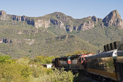 Train in the Sierra Madre Occidental. Partial view of train in the Sierra Madre Occidental, approaching Copper Canyon, Mexico Stock Photography
