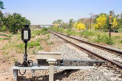 Train signals for railway and and traffic light Stock Photography