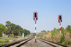 Train signals for railway and and traffic light Royalty Free Stock Images